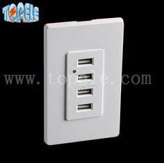 White Usb Wall Outlet , Usb Electrical Outlet 4 USB Ports With 2 Wall Plates